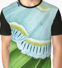 White Moth on Tropical Spiral Plant Graphic T-Shirt