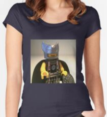 Captain Vortex in Black & Silver Costume and Cape Women's Fitted Scoop T-Shirt