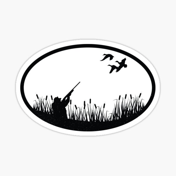 Vintage Duck Hunting Illustration Sticker