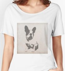 print French bulldog in vintage texture Women's Relaxed Fit T-Shirt