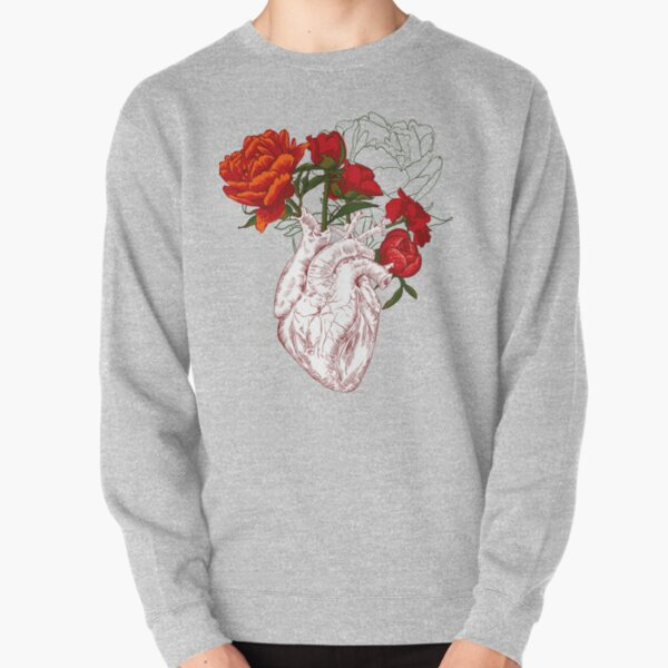drawing Human heart with flowers Pullover Sweatshirt