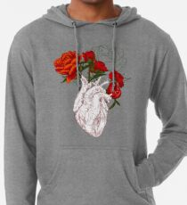 drawing Human heart with flowers Lightweight Hoodie