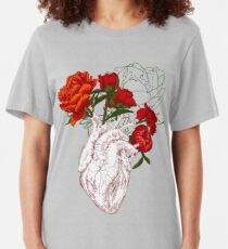 drawing Human heart with flowers Slim Fit T-Shirt