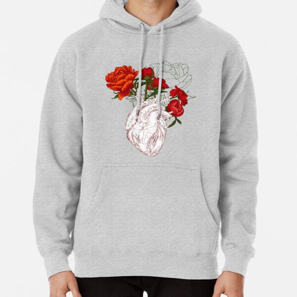 drawing Human heart with flowers Pullover Hoodie