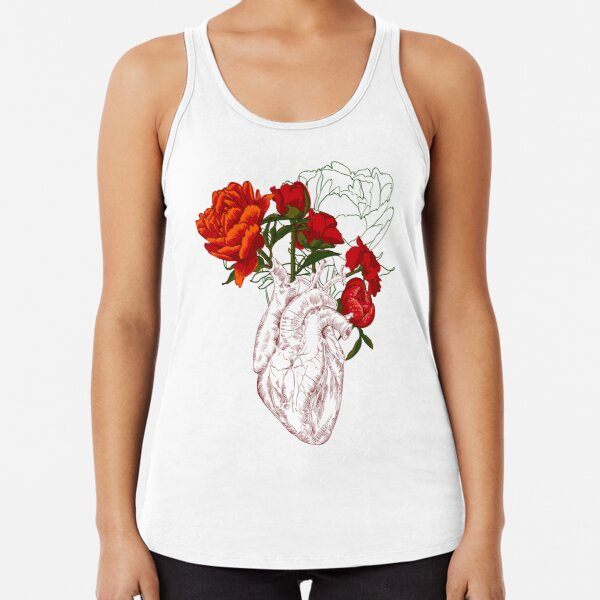 drawing Human heart with flowers Racerback Tank Top