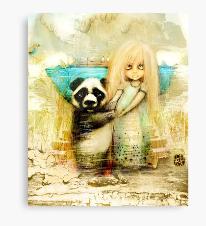Panda and Snowdrop Canvas Print