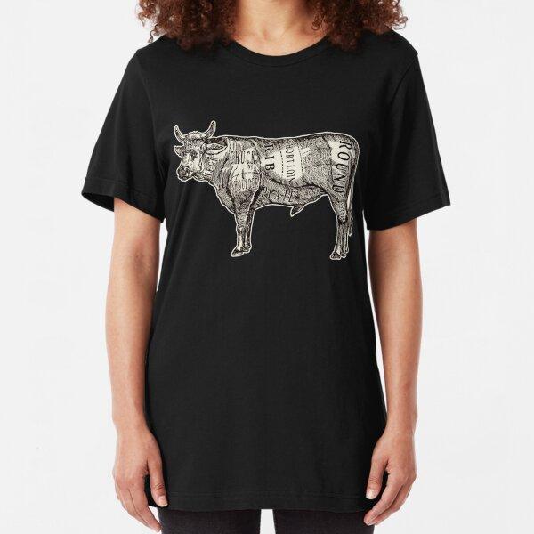 Butcher Chart: Cow Edition Slim Fit T-Shirt
