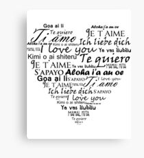 I Love You In Other Languages Canvas Print