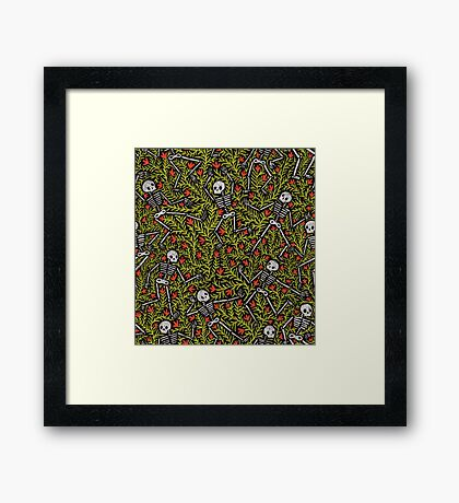 Dancing Skeletons Pattern Framed Print