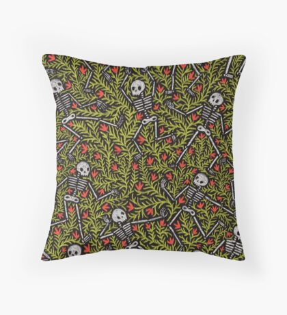 Dancing Skeletons Pattern Throw Pillow