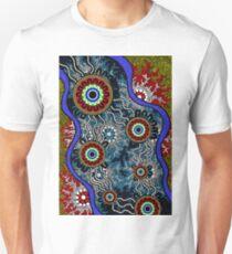 Authentic Aboriginal Art - Camping Unisex T-Shirt