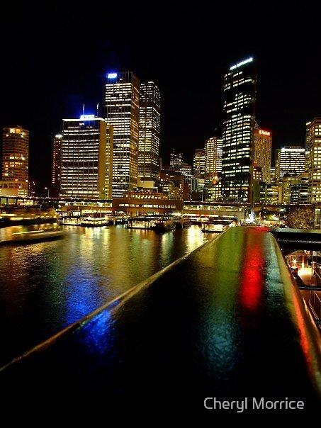 circular quay at night by Cheryl Morrice