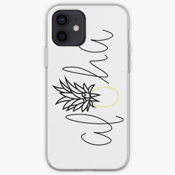 Aloha Pineapple Sticker, Hawaiian, Tropical, Lettering, Simple Sticker, Hello, Good Vibes iPhone Soft Case