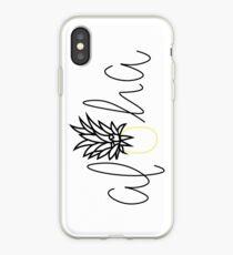 Aloha Pineapple Sticker, Hawaiian, Tropical, Lettering, Simple Sticker, Hello, Good Vibes iPhone Case
