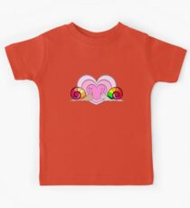 Snails in a love, smiling. Hearts on white background Kids Tee