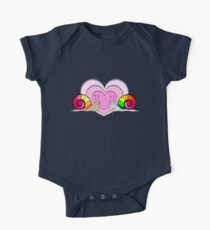 Snails in a love, smiling. Hearts on white background Kids Clothes