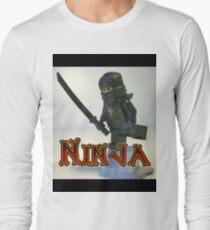 Black Ninja Custom Minifigure Long Sleeve T-Shirt