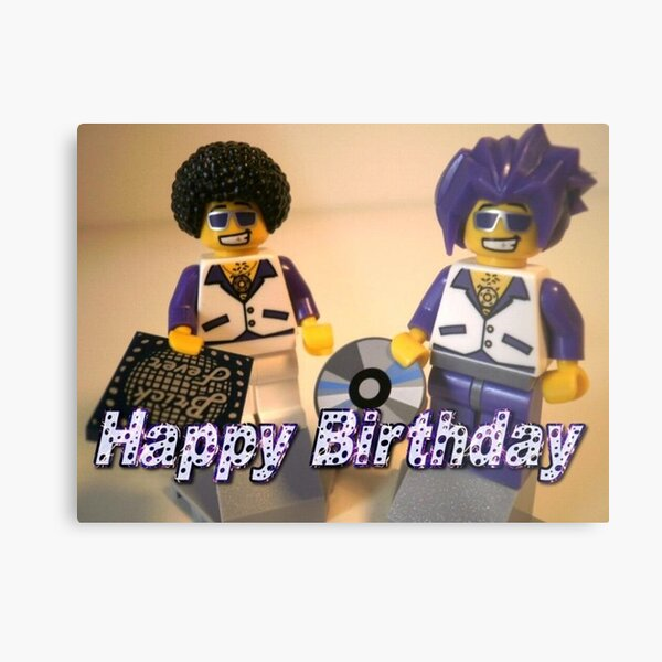 Happy Birthday Greeting Card DJ Clubbing Tru & his Dad Disco Stu (with CD and Record) Minifigs Metal Print