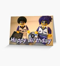 Happy Birthday Greeting Card DJ Clubbing Tru & his Dad Disco Stu (with CD and Record) Minifigs Greeting Card