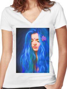 Tears in the Ocean (Portrait) Women's Fitted V-Neck T-Shirt