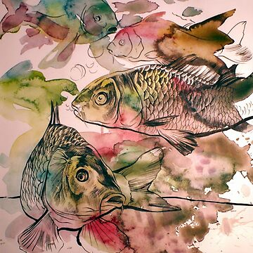 Carps swimming in colors by kozikoz