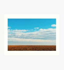 Cloudy Sky Over Harvested Land In Autumn Art Print