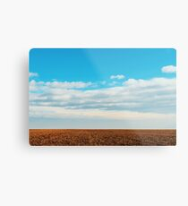 Cloudy Sky Over Harvested Land In Autumn Metal Print