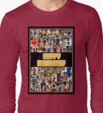 Happy Birthday Greeting Card, Montage of Custom Minifigs Long Sleeve T-Shirt