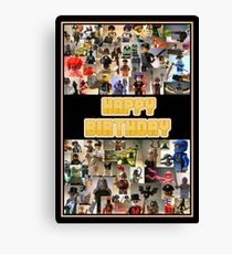 Happy Birthday Greeting Card, Montage of Custom Minifigs Canvas Print