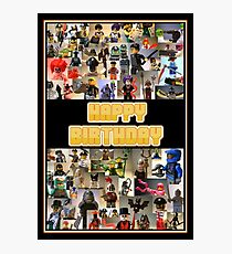 Happy Birthday Greeting Card, Montage of Custom Minifigs Photographic Print