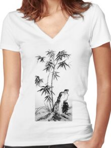 Bamboo with Stone Women's Fitted V-Neck T-Shirt