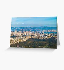 SF, Oakland & De Young in one Aerial shot Greeting Card