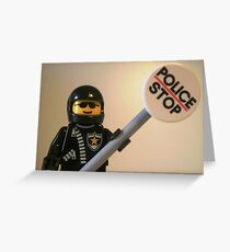 Classic Police Motorcycle Man Cop Minifigure & Police Stop Sign Greeting Card