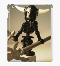 Black Skeleton Custom Minifigure with Viking Helmet and Warrior Weapons iPad Case/Skin