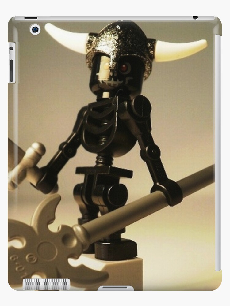 Black Skeleton Custom Minifigure with Viking Helmet and Warrior Weapons by Customize My Minifig