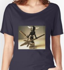 Black Skeleton Custom Minifigure with Viking Helmet and Warrior Weapons Women's Relaxed Fit T-Shirt