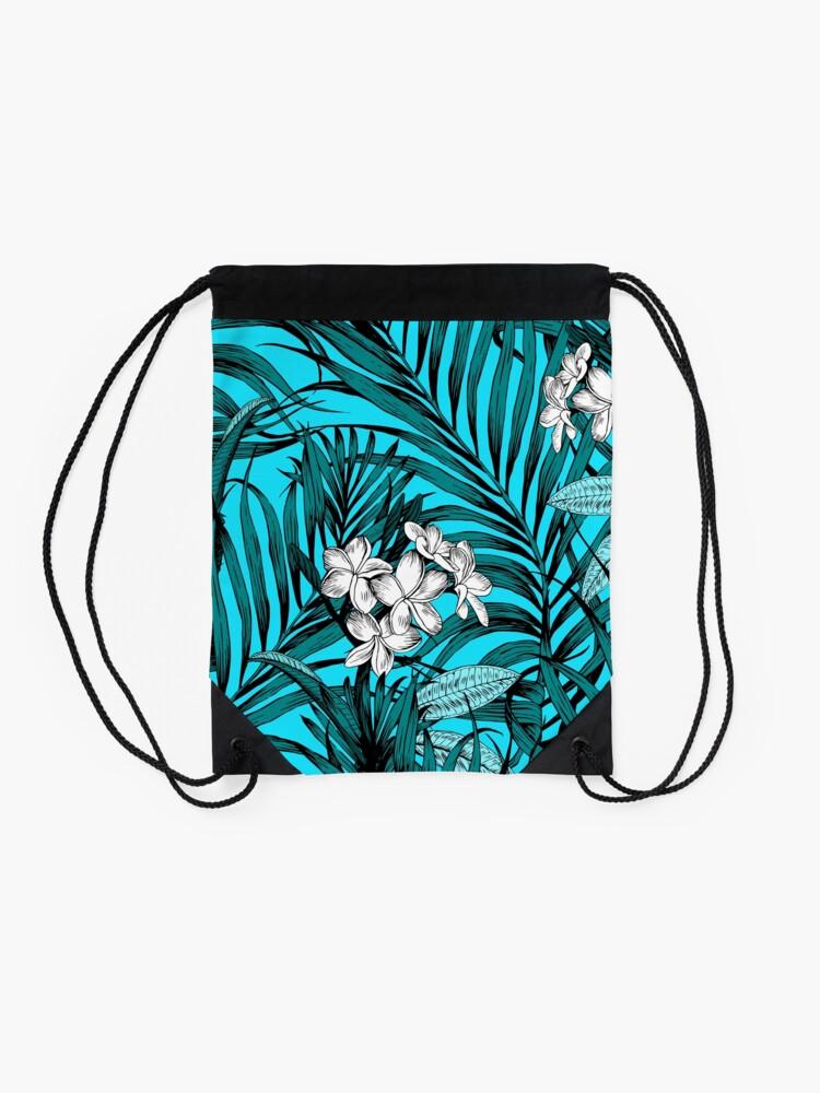 Alternate view of tropical pattern Drawstring Bag
