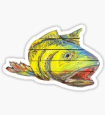 Pegatina Red Fish Rainbow Trout Surrealist Fish