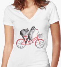 Cycling raccoons  Women's Fitted V-Neck T-Shirt
