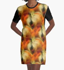 Orange And Cream Abstract Fantasy Graphic T-Shirt Dress