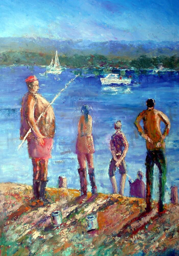 Fishing at Tranby on Swan by David Hinchliffe