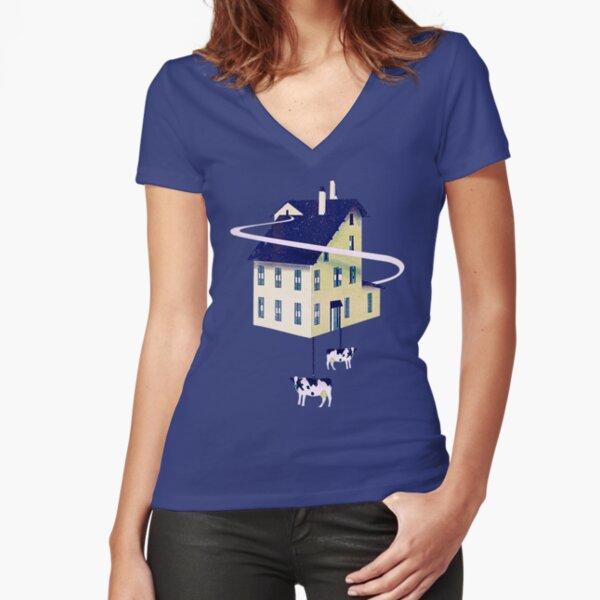 Holy Cow... Tailliertes T-Shirt mit V-Ausschnitt