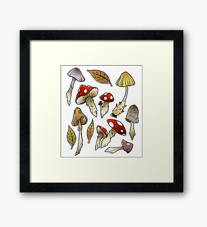 Mushroom Sticker-pack Framed Print