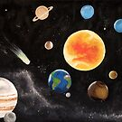 Solar System Space Painting by Melisa Fales