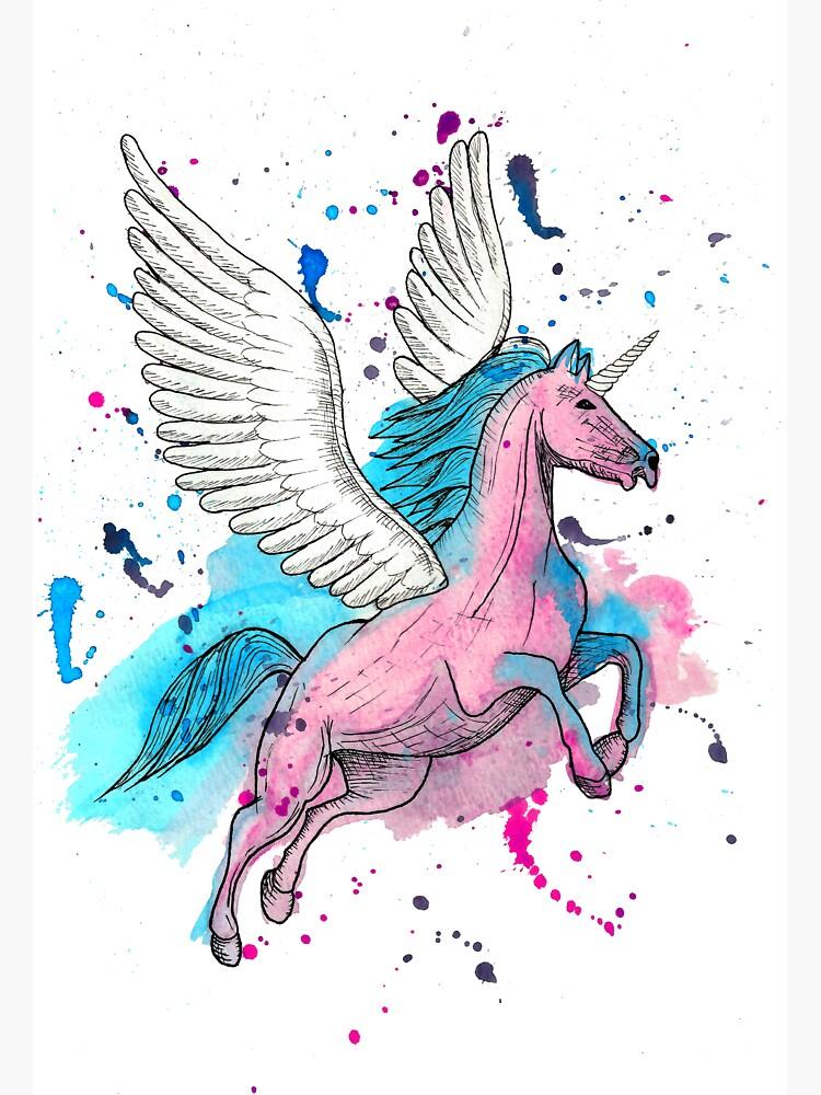 Watercolour Unicorn 1 by LPDesignsAndArt