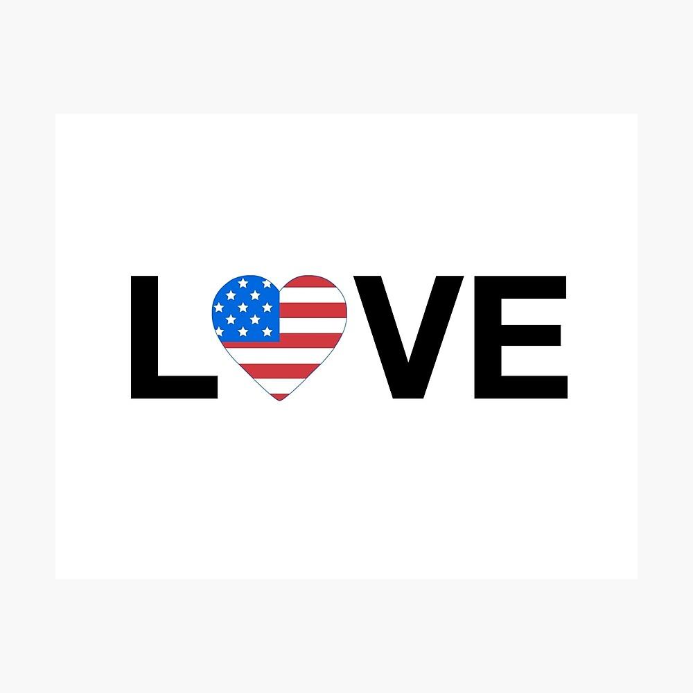 Love - American Flag - Love Trumps Hate - Black Photographic Print