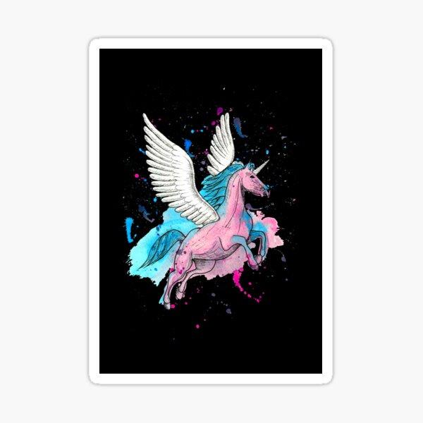 Watercolour Unicorn 1 on Black Sticker
