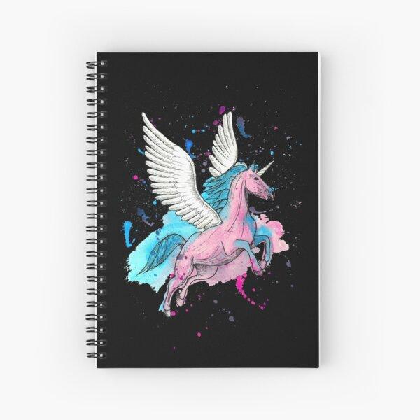 Watercolour Unicorn 1 on Black Spiral Notebook