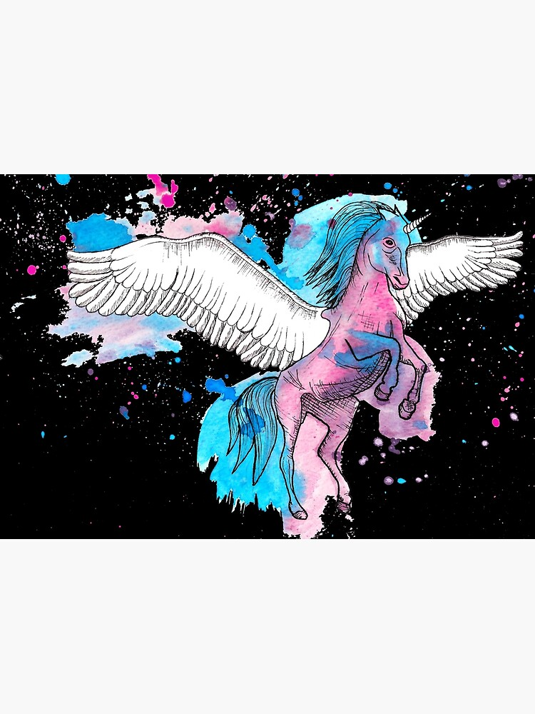 Watercolour Unicorn 2 on Black by LPDesignsAndArt