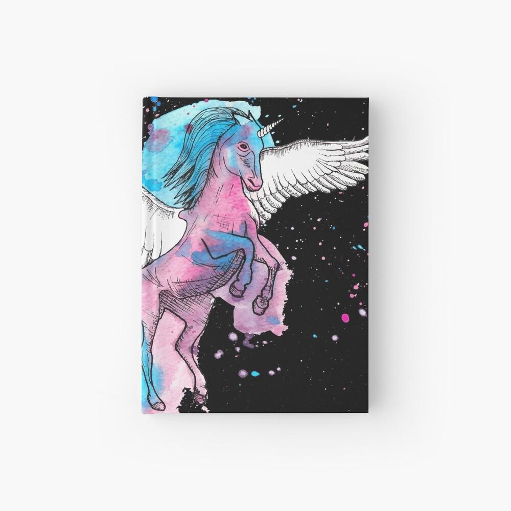 Watercolour Unicorn 2 on Black Hardcover Journal
